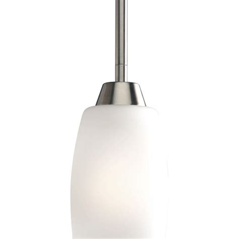 Brushed Nickel Pendant Lighting Kitchen Progress Lighting Wisten Collection 1 Light Brushed Nickel Mini Pendant With Etched Glass Shade
