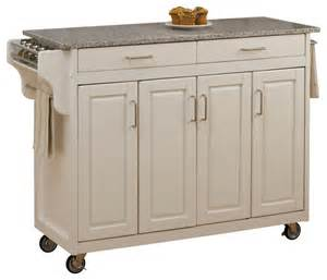 Kitchen Island Cart With Granite Top Create A Cart White Finish Sp Granite Top Transitional Kitchen Islands And Kitchen Carts