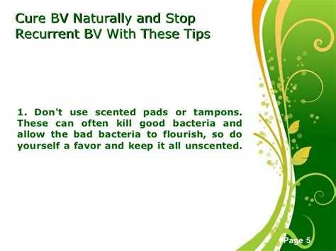tips to cure bacterial vaginosis naturally