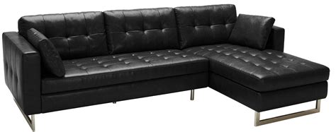 Black Leather Sofa With Chaise Wilson Black Fog Leather Sofa Chaise 100833 Sunpan Modern Home