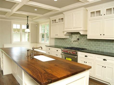 White Cabinets Wood Countertop by White Cabs Green Tile Wood Countertops And Granite