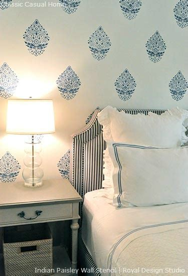 bedroom wall stencils paint pattern