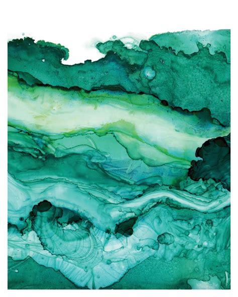 watercolor ink pattern undercurrent emerald ink art print ocean art surf