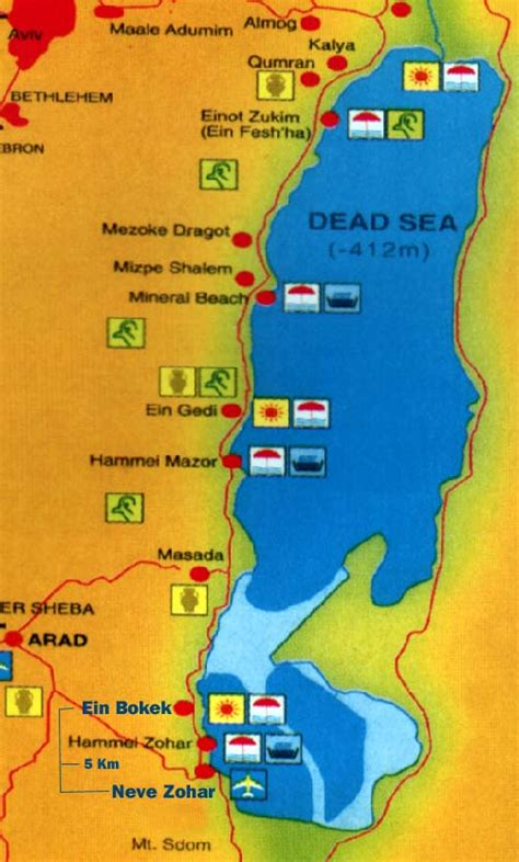 the dead sea map map of the dead sea neve zohar