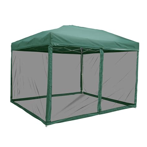 10x10 Screen Gazebo 10 X 10 Green Pop Up Canopy With Screen Quictent Us