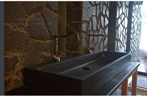 47 quot double bathroom sink black granite stone trough looan shadow