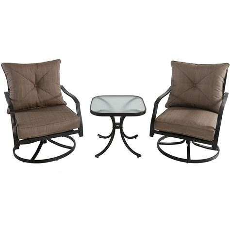 Hanover Palm Bay 3 Piece Steel Outdoor Bistro Set with