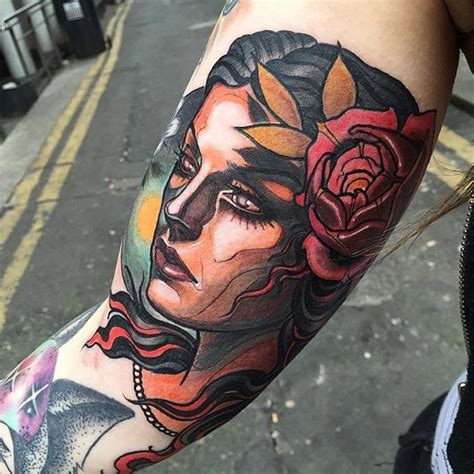 neo traditional tattoo pinterest neo traditional girl tattoo by isnard barbosa