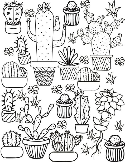 Coloring Page Cactus by Cactus And Succulent Printable Coloring Pages