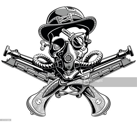 skull hat crossed pistols pirate jolly roger steampunk