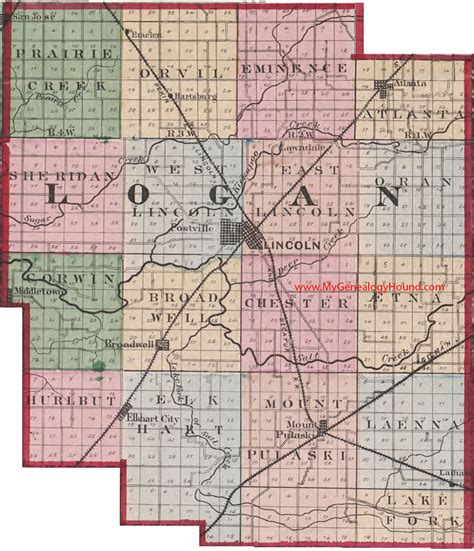 san jose illinois map logan county illinois 1870 map