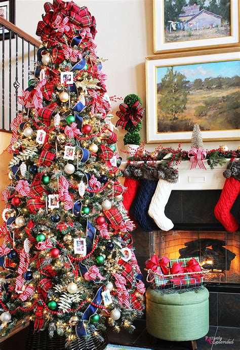 traditional plaid christmas tree decorations a holiday