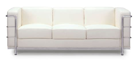 sofa white renny modern leather with chromed steel frame sofa white