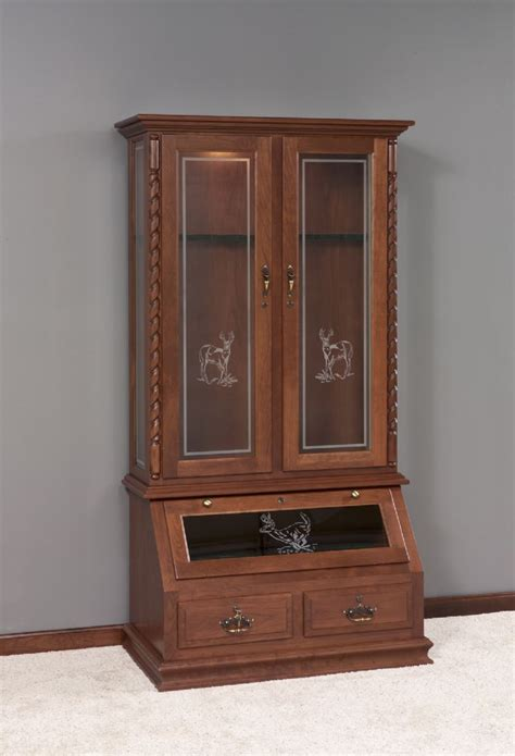 woodworking cabinet solid wood gun cabinet with deer design