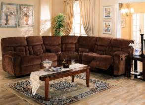 Fabric Sectional Sofa With Recliner Brown Chennile Fabric Sectional Sofa W Recliner Seat