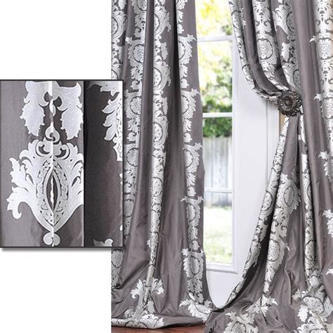 Charcoal Gray Curtains Designs Exclusive Fabrics Charcoal Grey With Silver Metallic Print Faux Silk 84 Inch Curtain Panel