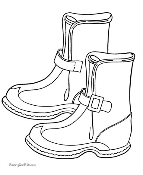 Winter Boots Picture To Color Boots Coloring Pages