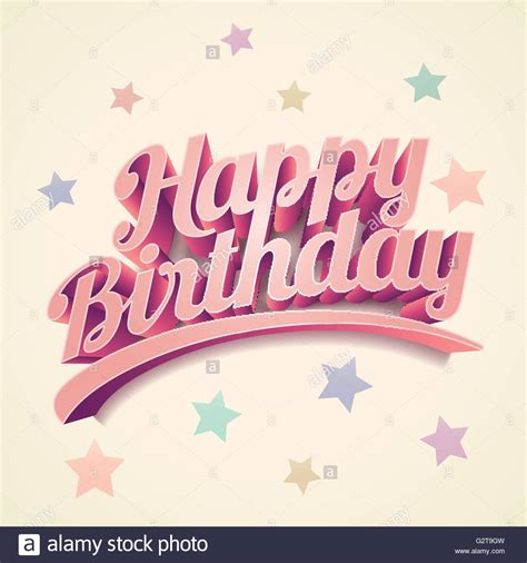 Happy Birthday Card Design Vector Illustration | vector retro 3d happy birthday birthday card design