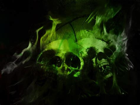 wallpaper green skull green flaming skulls download artistic skulls wallpaper