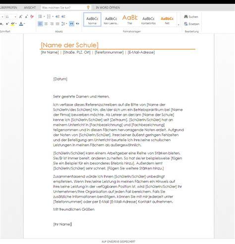 Schreiben Schulwechsel Muster Referenzschreiben F 252 R Einen Sch 252 Ler Wordvorlage De