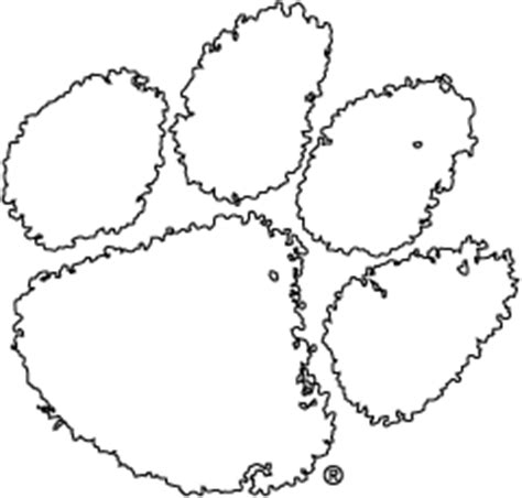 coloring page tiger paw logos clemson university south carolina