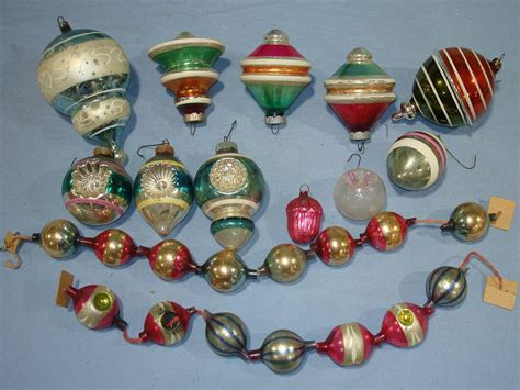 antique glass ornaments on vintage