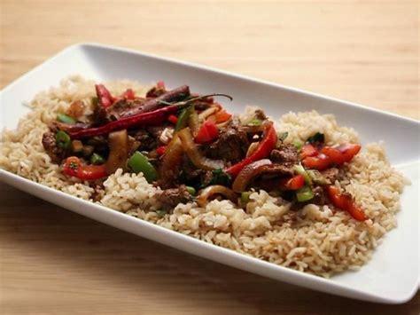 Beef Steak Spicy Rice cumin beef pepper steak and brown rice recipe rachael food network