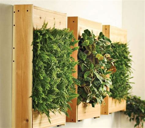 Living Wall Garden Using Wooden Boards Decoist Hanging Wall Gardens