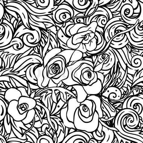 pattern flowers black and white seamless pattern with black and white flowers stock