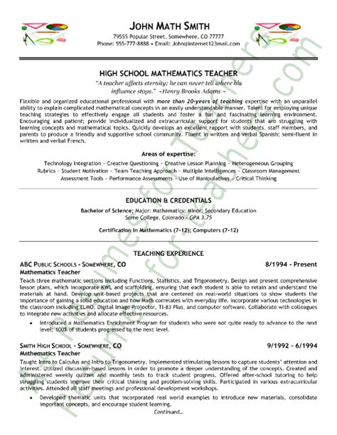 math teacher resume sle teacher math and sle resume