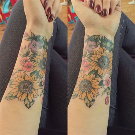 hippie tattoo my new forearm coverup sunflower floral