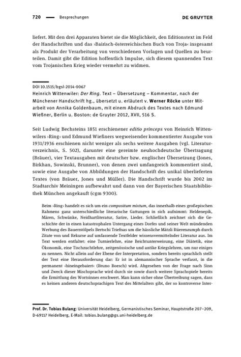 Kommentar Schreiben Muster Heinrich Wittenwiler Der Ring Text 220 Bersetzung Kommentar Nach Der M 252 Nchener Handschrift