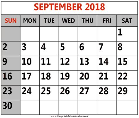 printable calendar sept 2018 september 2018 printable calendars