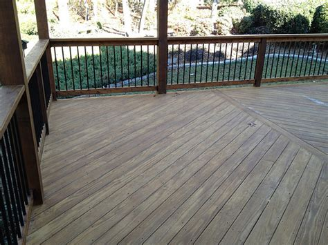 pressure treated kdat decking on angle with cedar handrail