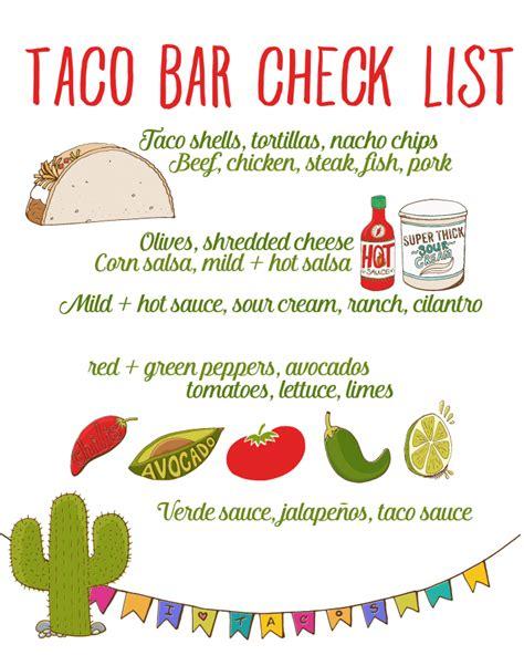 Taco Bar Party Recipe Free Taco Bar Checklist Taco Party Taco Bar And Forget Taco Invitation Template