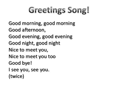 greeting song parole greetings song