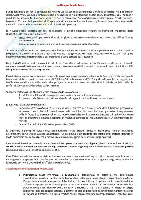 appunti medicina interna insufficienze renale acuta appunti di medicina interna