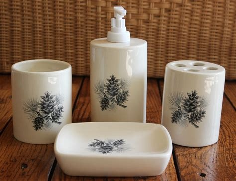 pine cone bathroom accessories new pine cone cabin bathroom set of 4 toothbrush holder