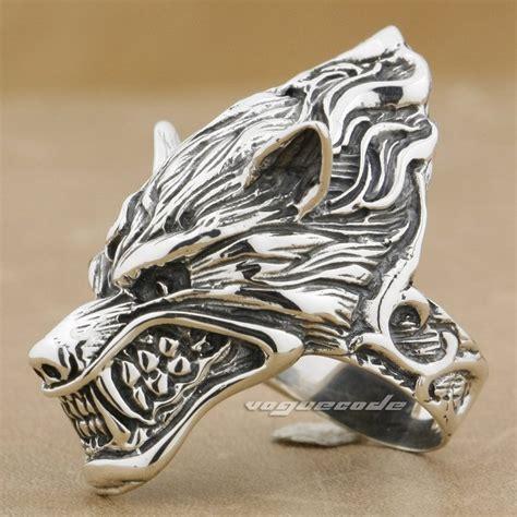 grinning wolf 925 sterling silver mens biker ring
