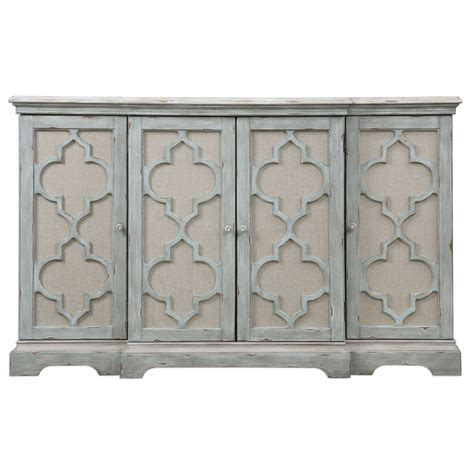 Sophie Weathered Gray Four Door Cabinet Uttermost Cabinets Accent Cabinets & Chests