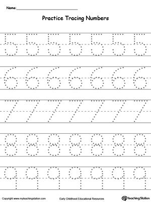 printable numbers exercise practice tracing numbers 5 9 myteachingstation com