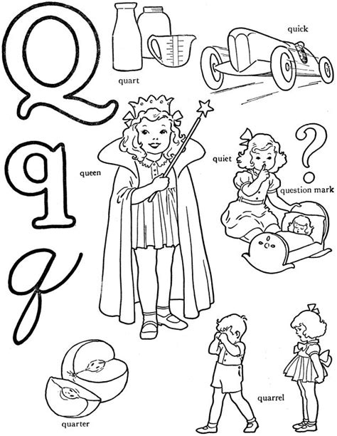 alphabet words coloring activity sheet letter q quart
