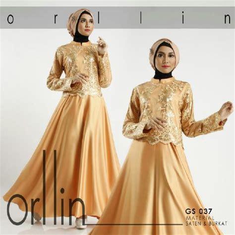 Baju Muslim Pesta Gamis Brukat Brokat Putih Premium baju pesta satin orlin b050 premium model busana brokat