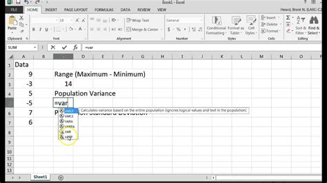 getting the population variance and population standard