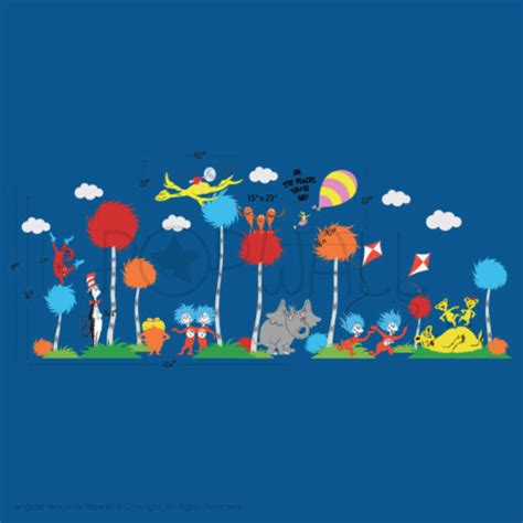 dr seuss wall stickers dr seuss characters oh the places you ll go wall decal