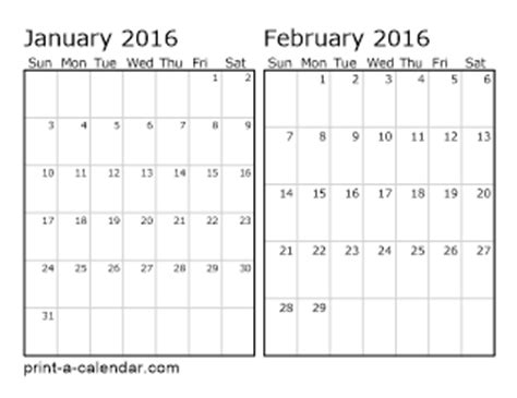 free printable 2016 2 page monthly calendar 5 5 x 8 5 download 2016 printable calendars