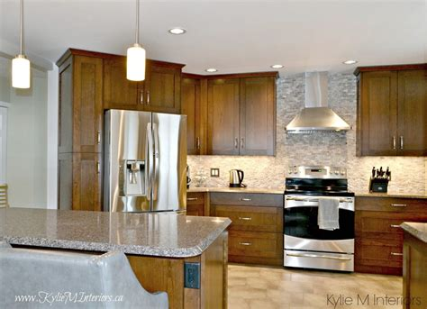 Almond Kitchen Cabinets Oak Kitchen Remodel Wood Cabinets Quartz Countertops And