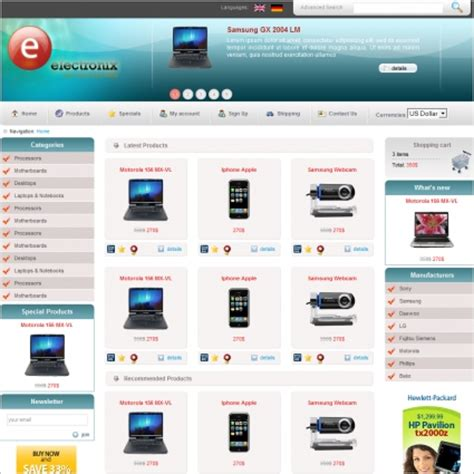 shop template electronix template free website templates in css html