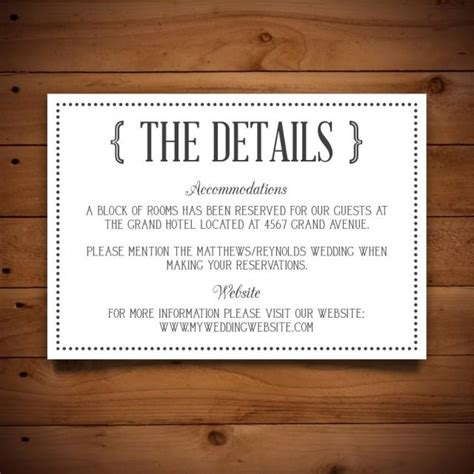 wedding information card template printable vintage wedding information card template