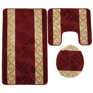 burgundy bath mat set 3 mega size bathroom mat set burgundy